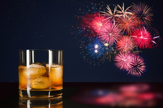 Whiskey and celebration colorful fireworks